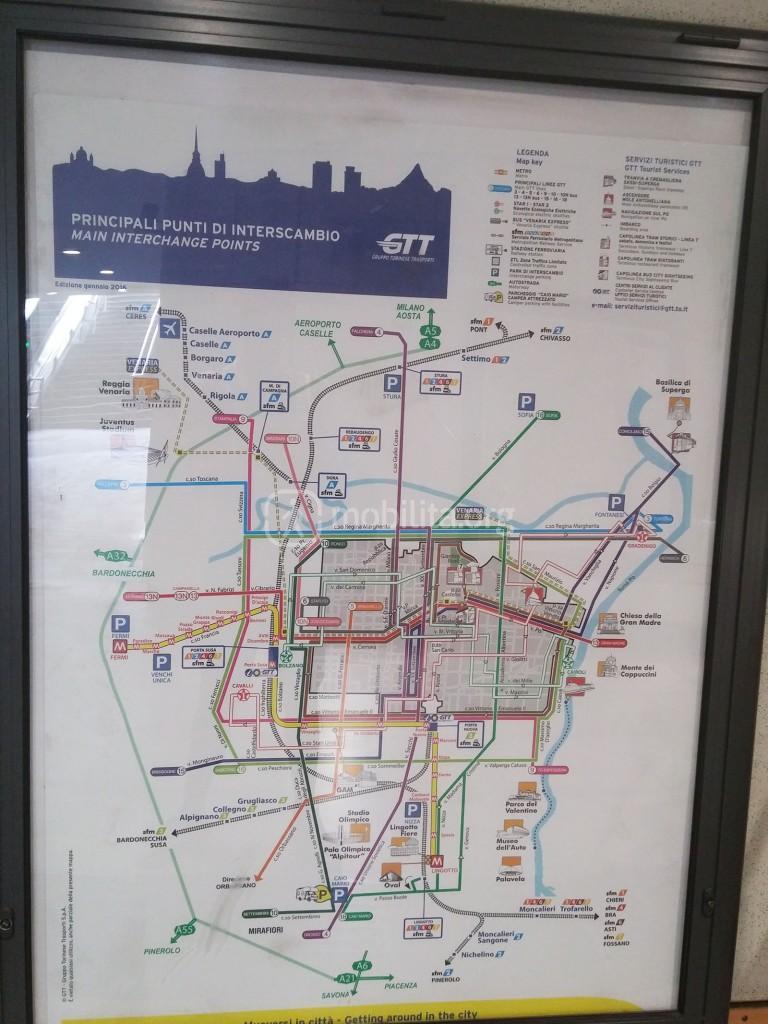 mappa schematica delle principali linee di TPL torinese
