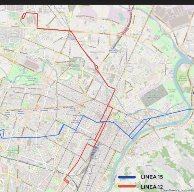in  rosso la linea 12 tram